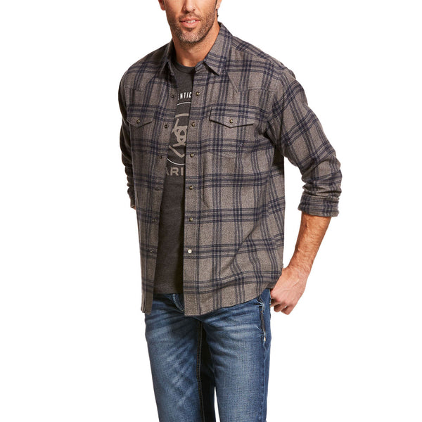 10028881 Ariat Men's Foggie Retro Fit Long Sleeve Western Snap Shirt - Steel Plaid