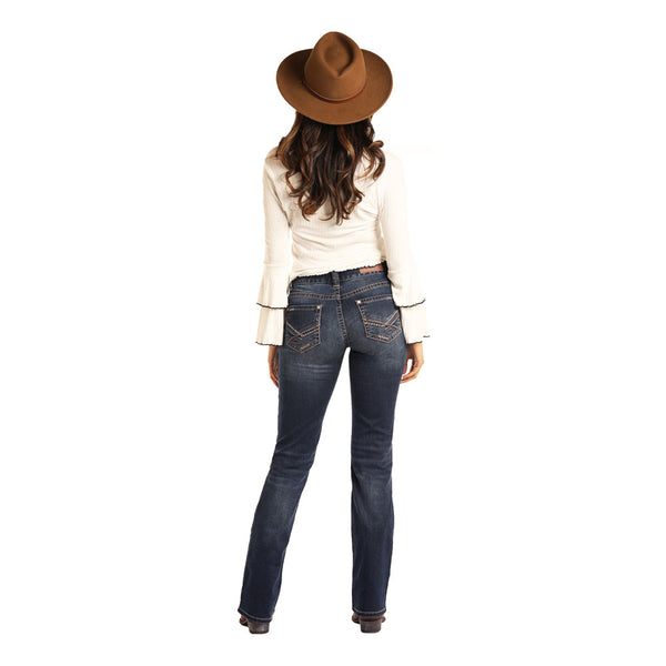 W1-3439 Rock & Roll Cowgirl Juniors Mid Rise Jeans