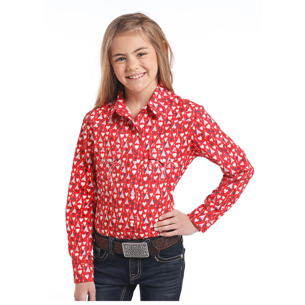 C6S3758 Panhandle Girls' Red Hearts and Tepees Long Sleeve Snaps Shirt