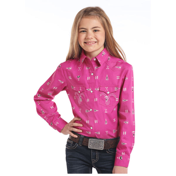 C6S3759 Panhandle Girls' Long Sleeve Pink Print Western Snap Shirt