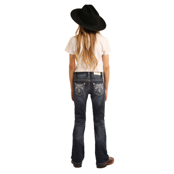 G5-3461 Rock & Roll Cowgirl Girls Boot Cut Jeans