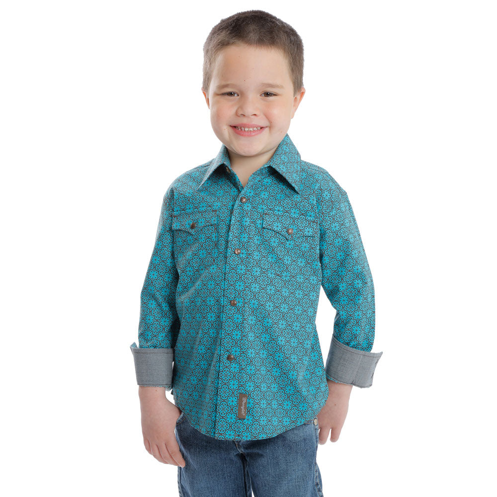 BVR478M Wrangler Boys Retro Long Sleeve Snap Shirt Turquoise & Brown