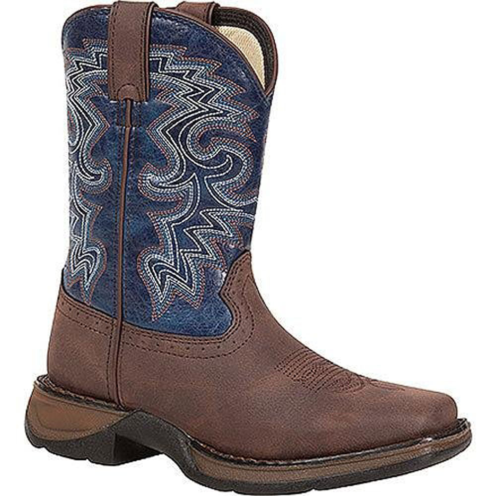 DWBT052 Durango Children's 8 Inch Western Cowboy Boot - Dark Brown & Navy