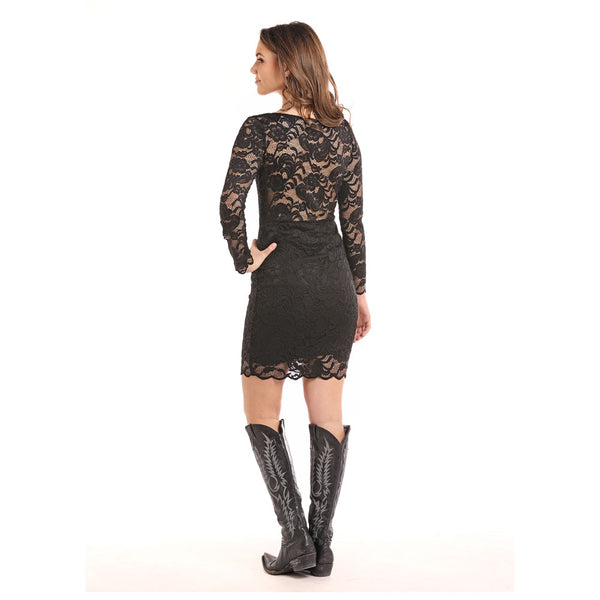 J0-7355 Panhandle Juniors Long Sleeve Black Lace Dress