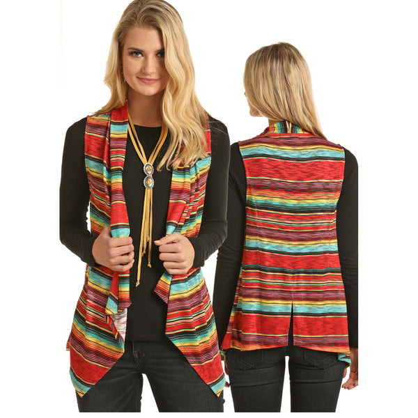 49V3138 Rock & Roll Cowgirl Juniors Striped Print Vest