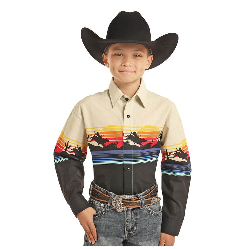 C0S3051 Panhandle Boys Border Print Long Sleeve Western Shirt