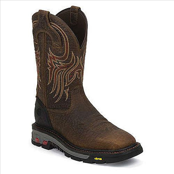 WK2110 Justin Men's Driscoll Mahogany Western Work Boot