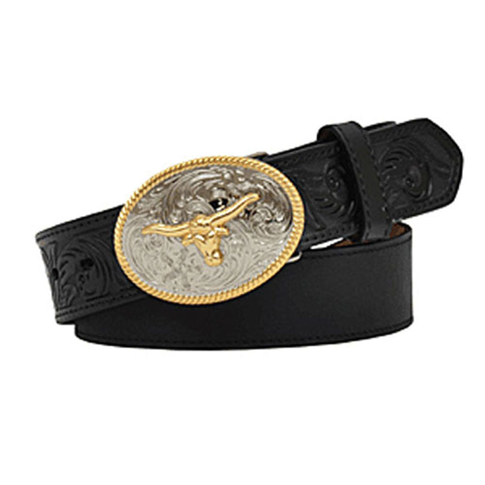 D4204 M&F Boys' Black Distressed Leather Belt with Longhorn Belt Buckle