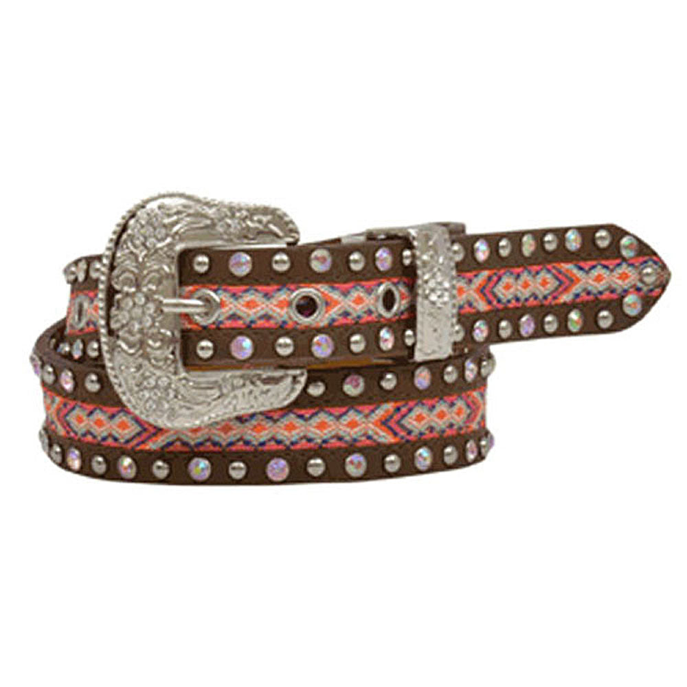 DA5222 Angel Ranch Girls' Western Brown Belt with Silver Studs and Pink Print Fabric Inlay