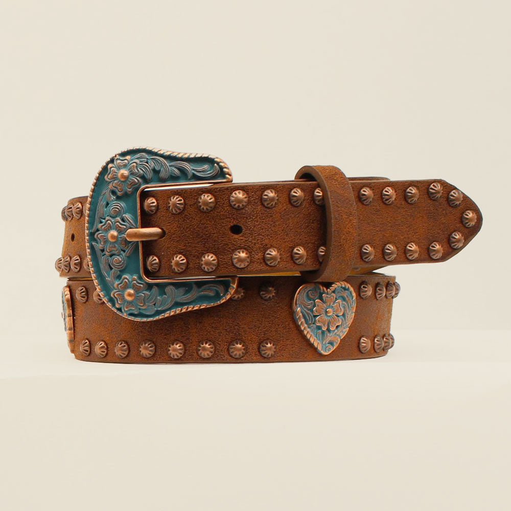DA5294 Angel Ranch Girls' Brown Western Belt with Copper Studs