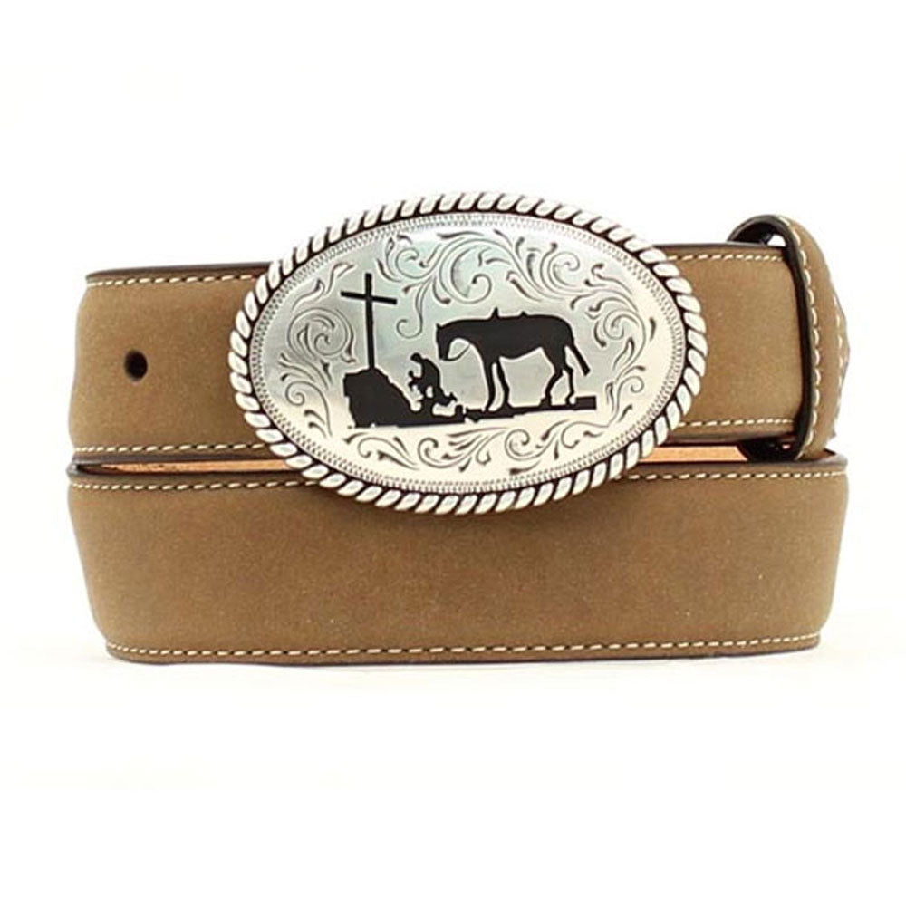 N4422444 Nocona Youth Brown Western Belt with Cowboy Prayer Buckle