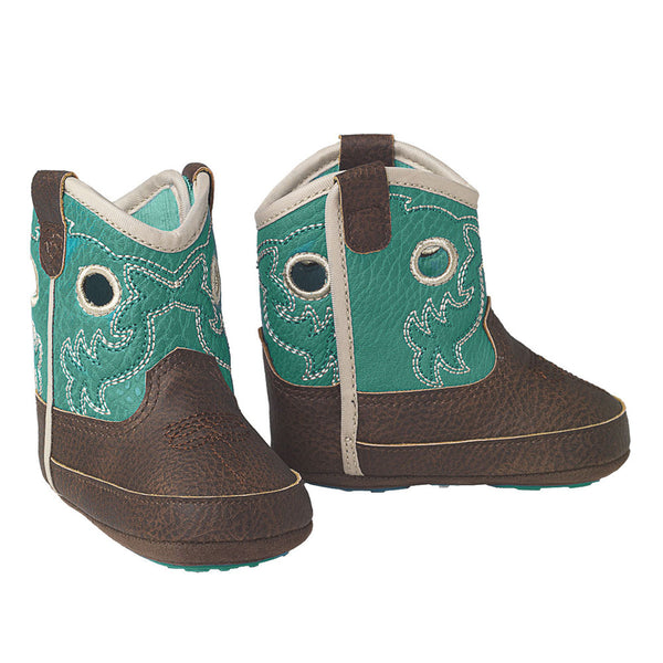 Ariat Lil' Stompers Infant Crossfire Cowboy Boot Brown with Turquoise Shaft
