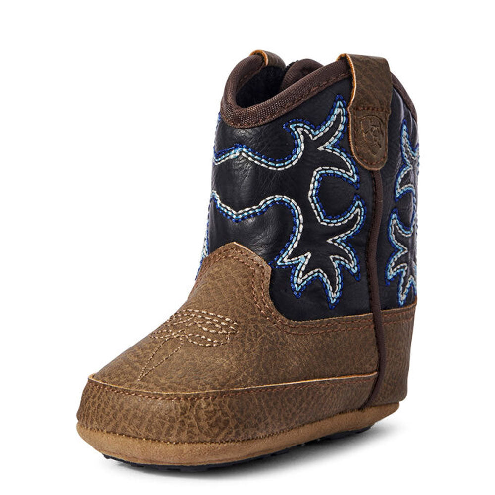 Ariat Lil' Stompers Infant Tombstone Western Boots Brown & Navy