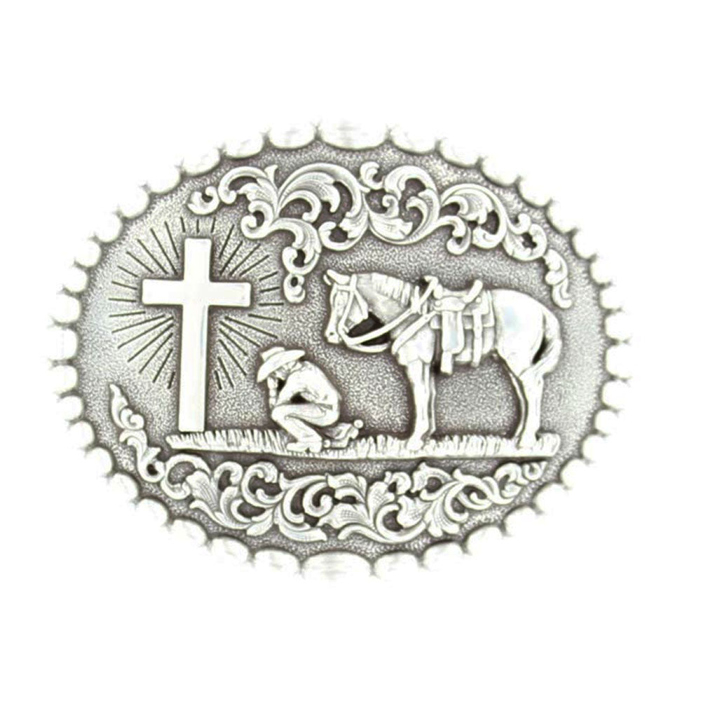37374 Nocona Men's Cowboy Prayer Oval Belt Buckle
