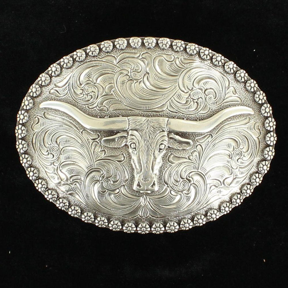 37981 Nocona Men's Longhorn Oval Western Belt Buckle
