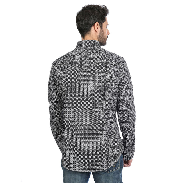 MRC378M Rock 47 Wrangler Men's Geometric Print Long Sleeve Western Snap Shirt B/W