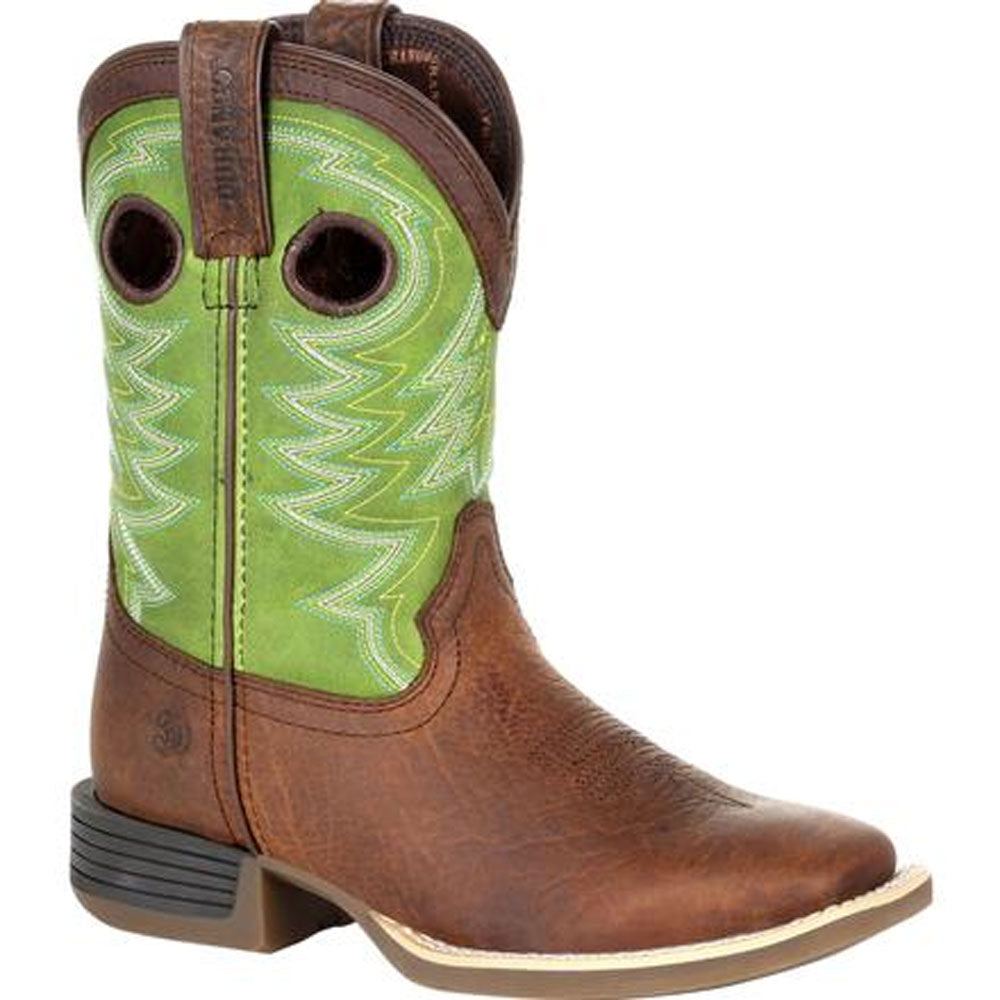 DBT0221Y Durango Lil' Rebel Pro Big Kid's Brown & Lime Western Boot
