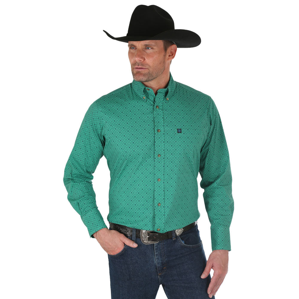 MWP104M Wrangler Men's Long Sleeve Performance Buttondown Western Shirt Green Print