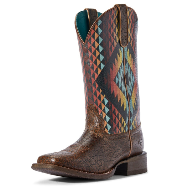 10031466 Ariat Womens Chocolate Serape Aztec Embossed Circuit Savannah Western Boot