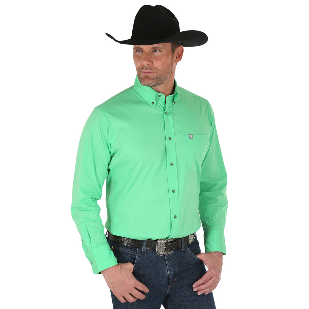 MWP107G Wrangler Men's Performance Long Sleeve Western Shirt Green