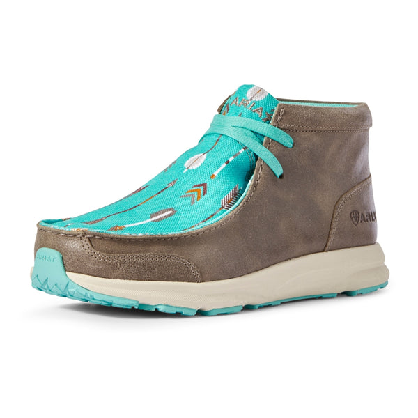 10031673 Ariat Womens Spitfire Lace Up Shoe In Turquoise Arrows