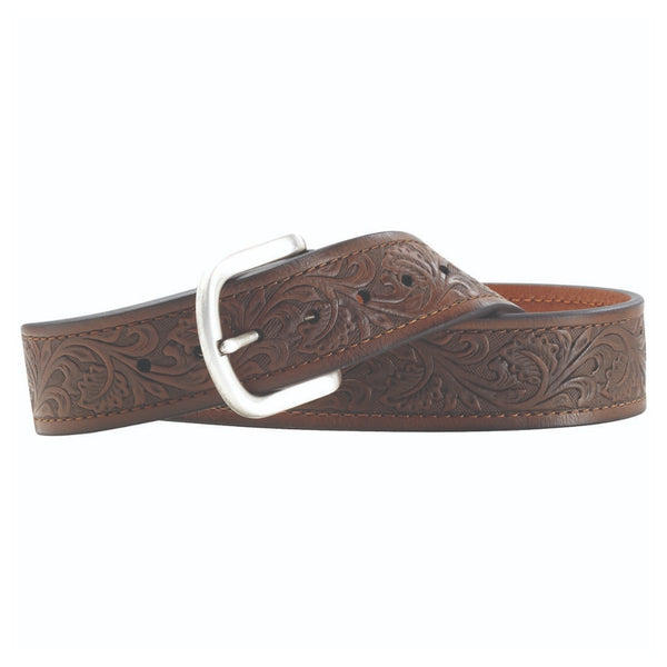 A10008932 Ariat Mens Tooled Leather Western Belt - Brown