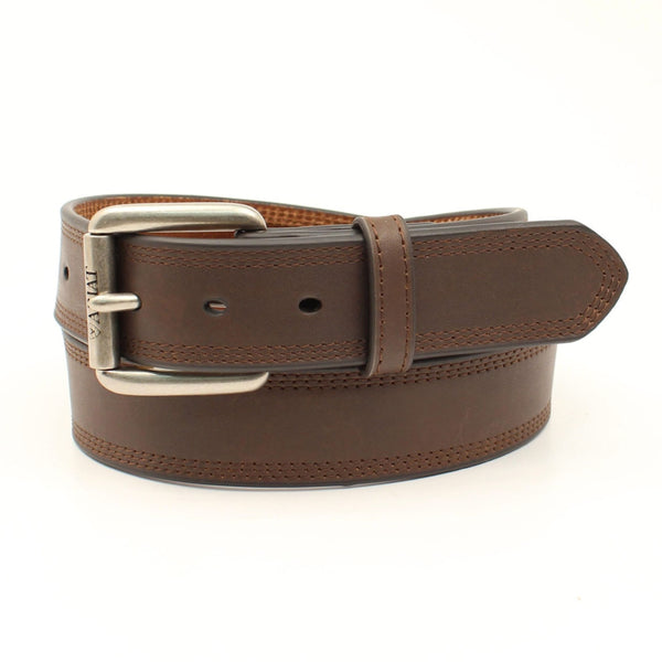 A1034802 Ariat Mens Smooth Brown Leather Belt