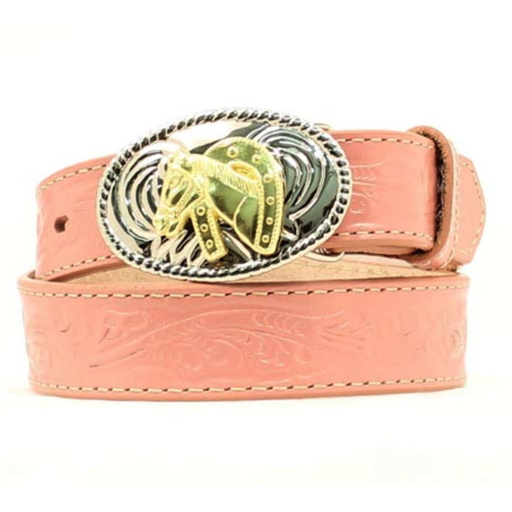 N4410530 Nocona Girls Pink Tooled Belt With Horseshoe Buckle