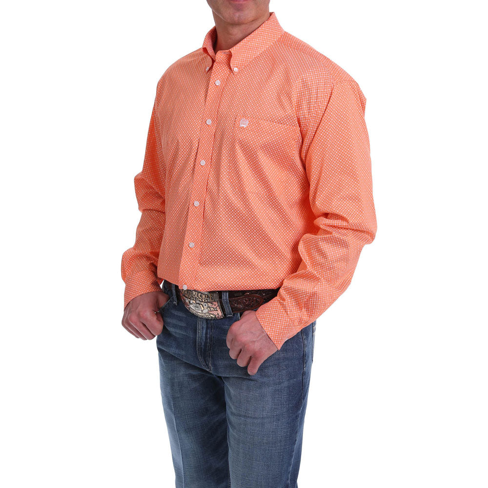 MTW1104966 Cinch Men's Orange & White Geometric Print Long Sleeve Western Shirt