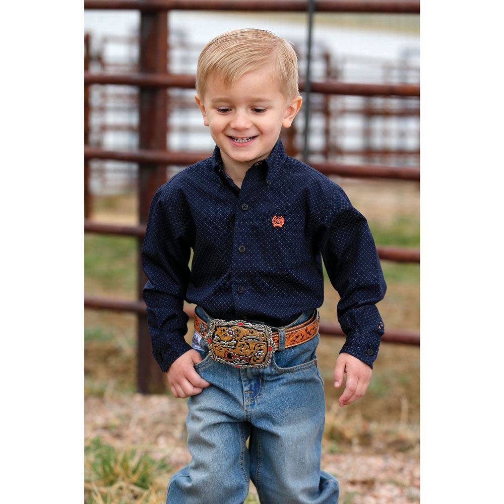 MTW7060224 Cinch Boys Long Sleeve Navy Print Western Shirt