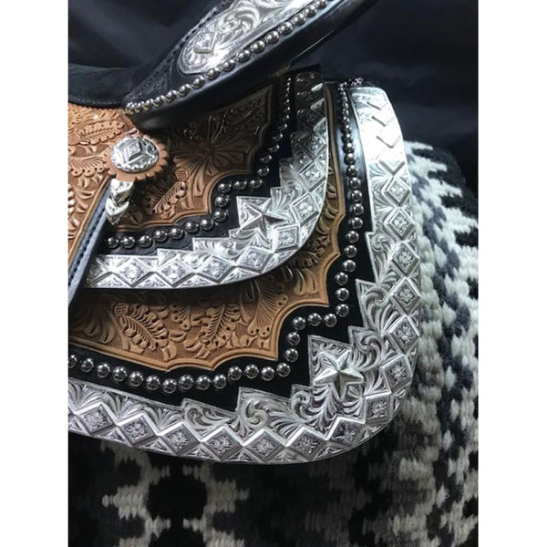 7784-008 Dale Chavez Rio Light Oil Black Accent Western Show Saddle 16 Inch
