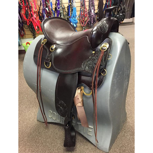 T60-621-9211-11 Tucker High Plains Western Trail Saddle 16.5 Brown Tooled Med Tree DEMO