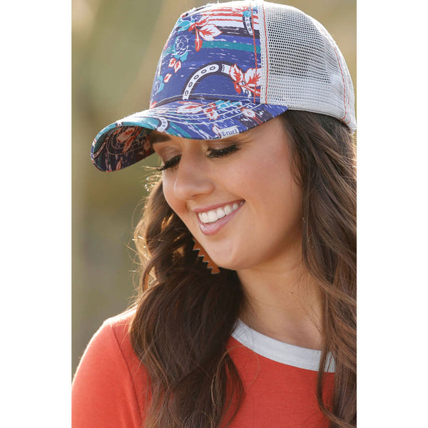 CCC0041005 Cruel Girl Womens Horseshoe and Floral Print Trucker Cap