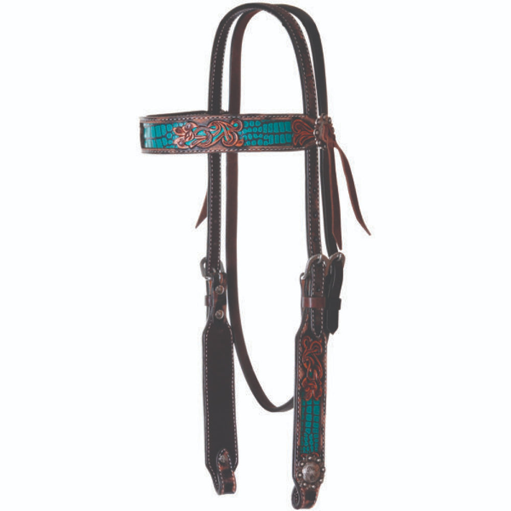 X0226-T00V Circle Y Browband Headstall Floral Tool With Teal Faux Gator Inlay