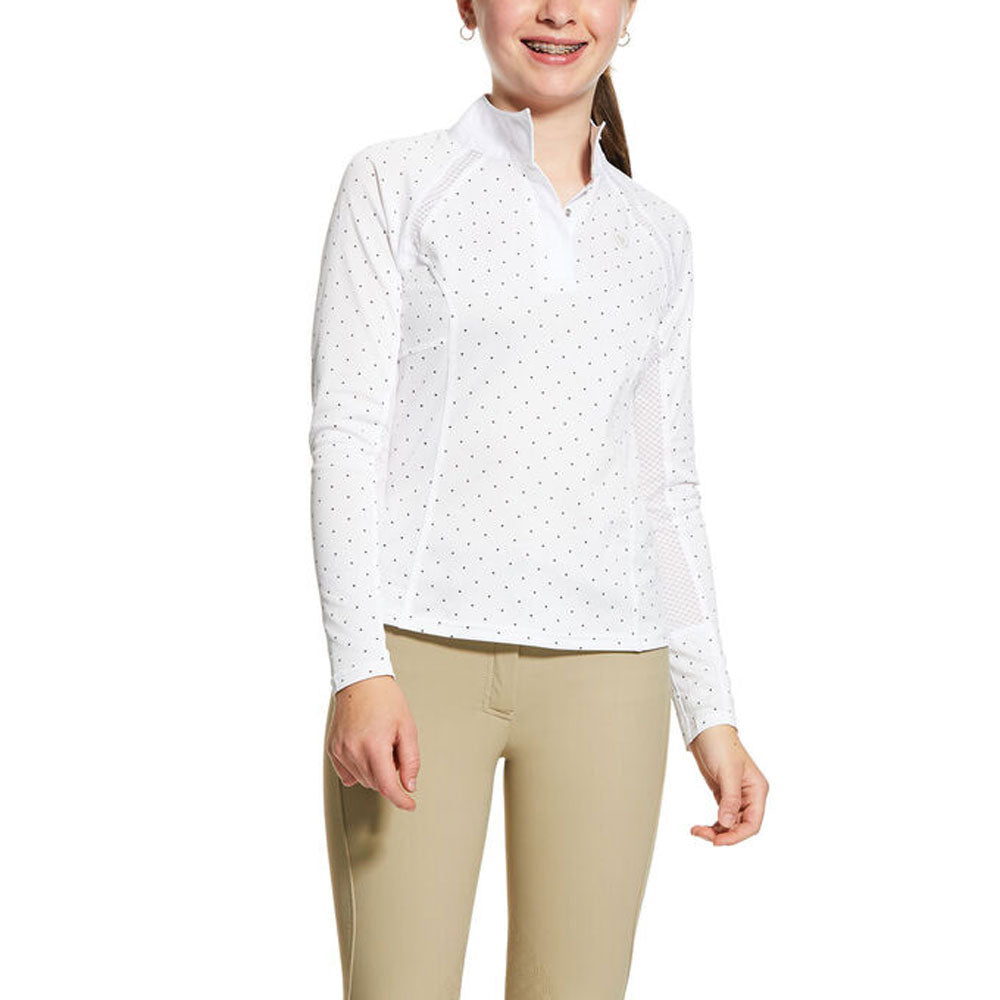 10030448 Ariat Kids Sunstopper 2.0 Show Shirt White - Plum Grey Dot