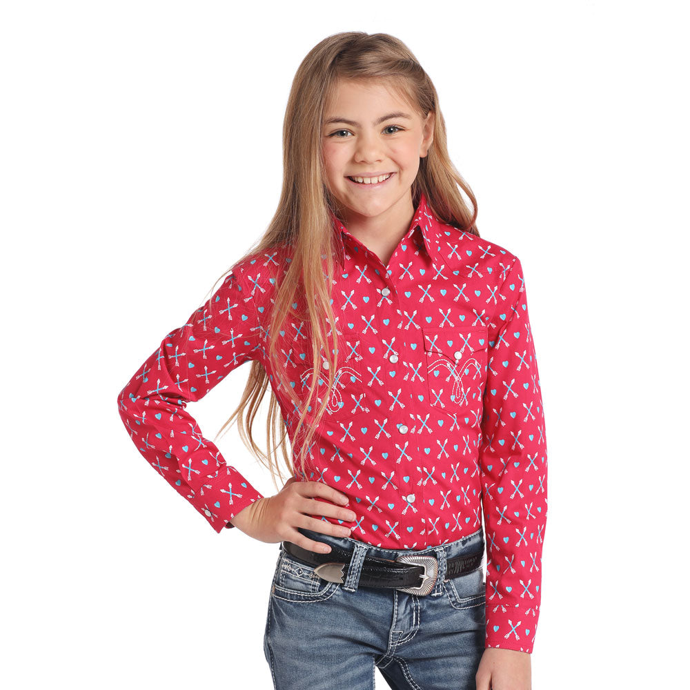C6S4409  Panhandle Girls' Long Sleeve Pink Western Snap Shirt