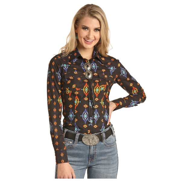 B4S4079 Rock & Roll Cowgirl Juniors Dale Brisby Aztec Print Shirt