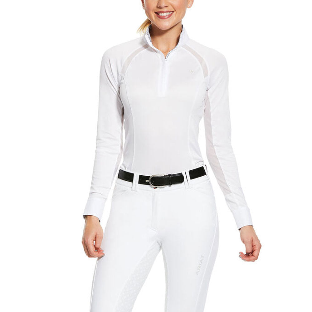10030547 Ariat Women's White Long Sleeve Sunstopper Pro 2.0 Show Shirt