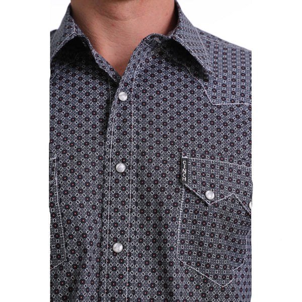 MTW1301037 Cinch Mens Modern Fit Navy Print Western Shirt