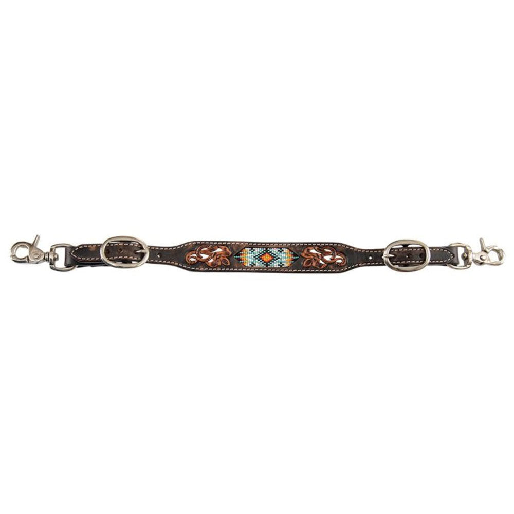 X0016-500V Circle Y Distressed Tribal Wither Strap Beaded