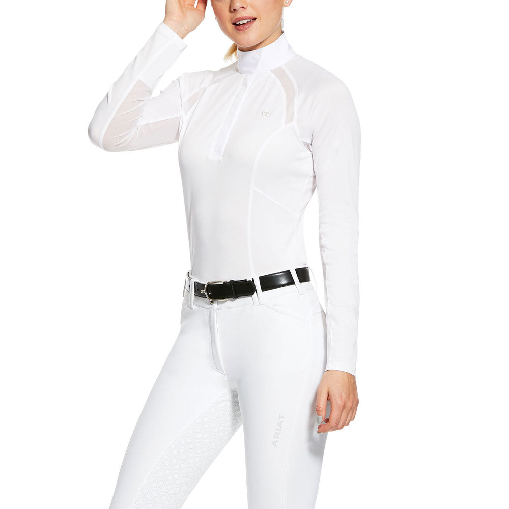 10030539 Ariat Women's Sunstopper 2.0 Show Shirt White Long Sleeeve