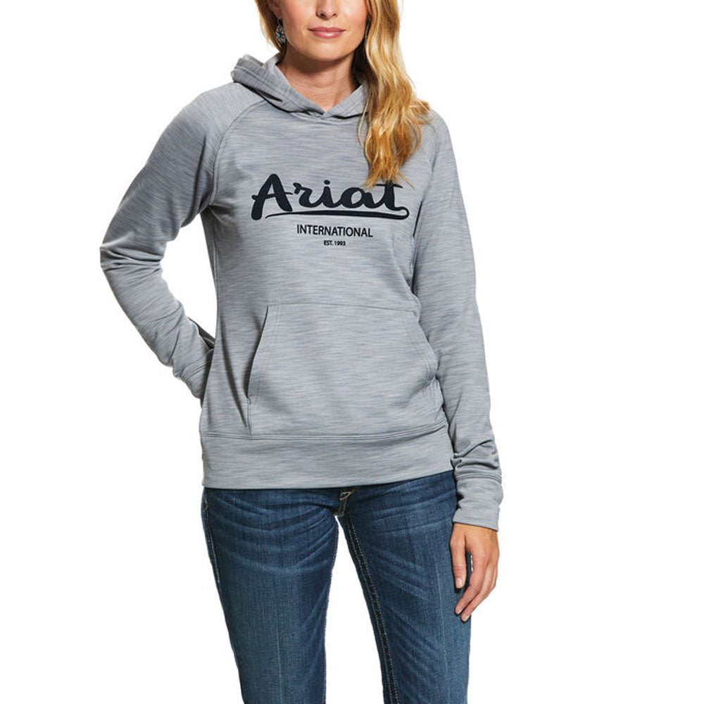 10030911 Ariat Women's Logo TEK 2 Hoodie Heather Grey