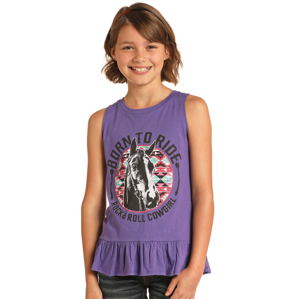 G1-4642 Rock & Roll Cowgirl Girls' BORN TO RIDE Tank Purple