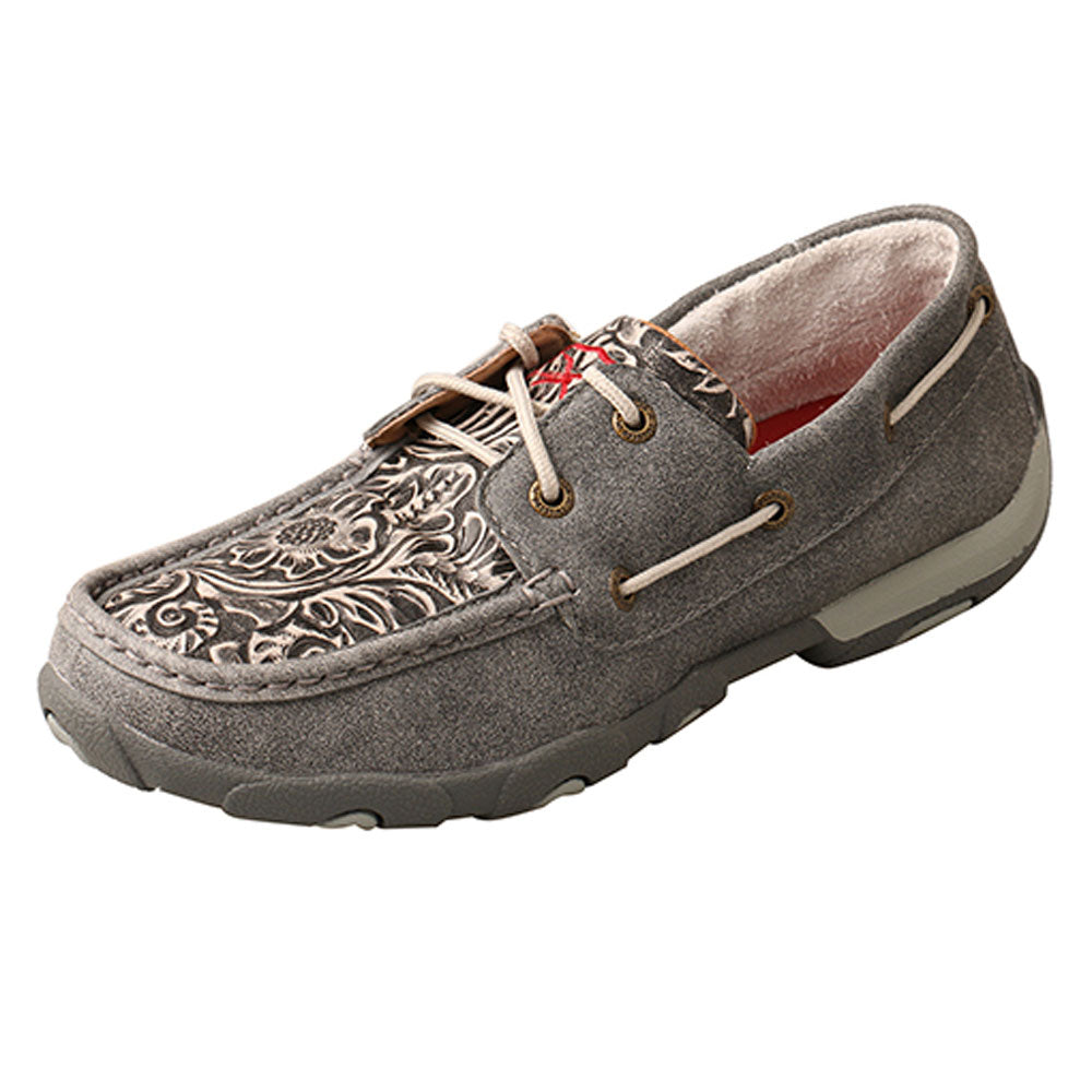 WDM0130 Twisted X Women's Boat Shoe Driving Moc Grey Multi