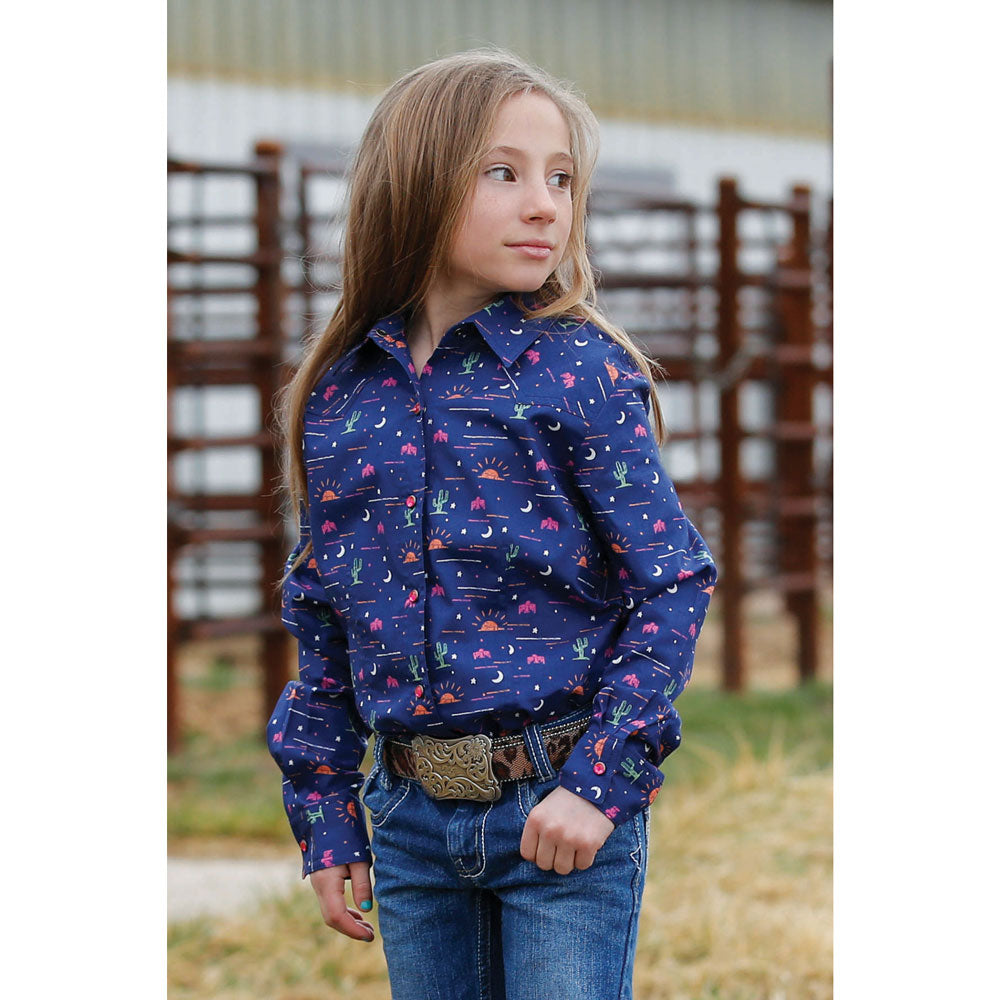 CTW3220020 Cruel Girl Girls' Long Sleeve Navy Blue Print Western Snap Shirt