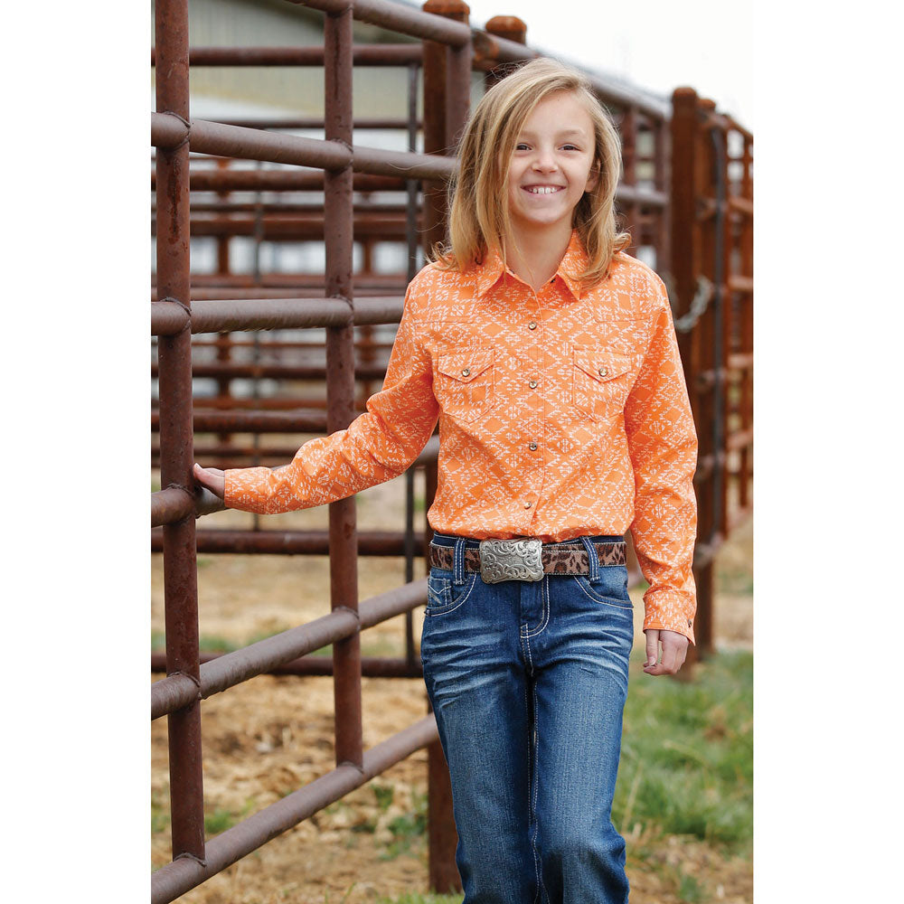 CTW3230016 Cruel Girl Girls' Orange Southwest Print Long Sleeve Western Snap Shirt