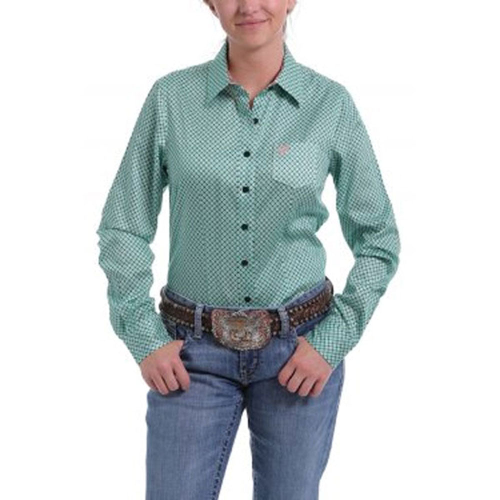 MSW9164133 Cinch Women's Teal & Coral Print Long Sleeve Western Shirt