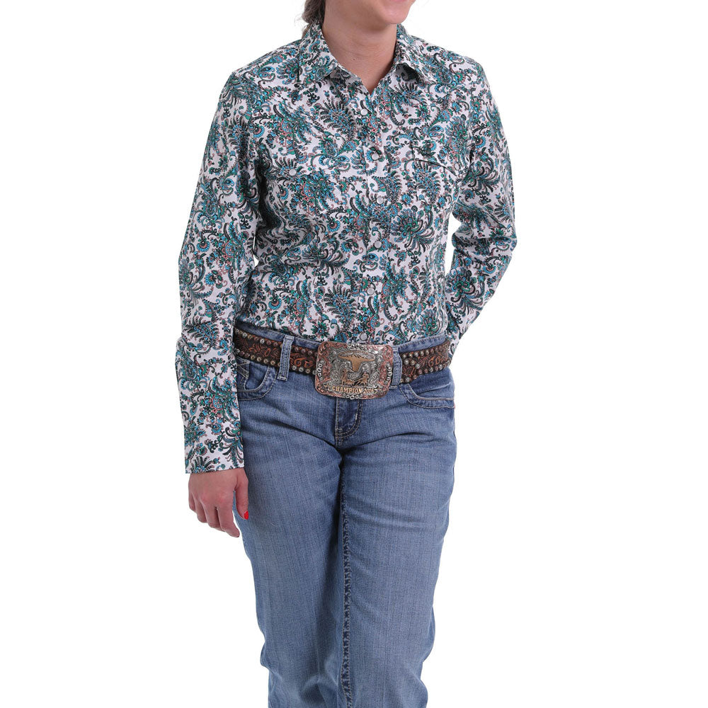 MSW9201010 Cinch Women's Blue, Coral & Green Paisley Long Sleeve Western Shirt