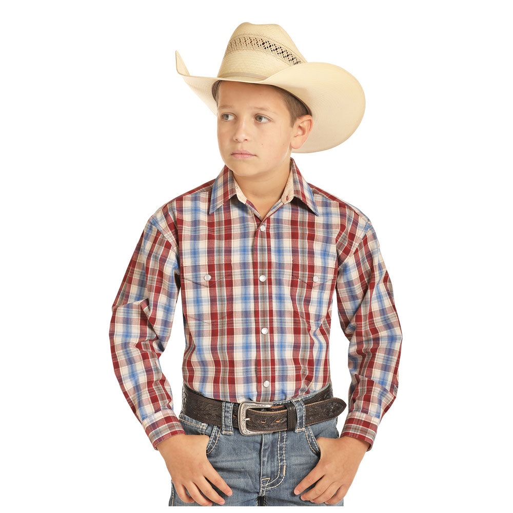 C0S4757 Panhandle Boys Beige, Red & Blue Plaid Western Shirt Long Sleeve