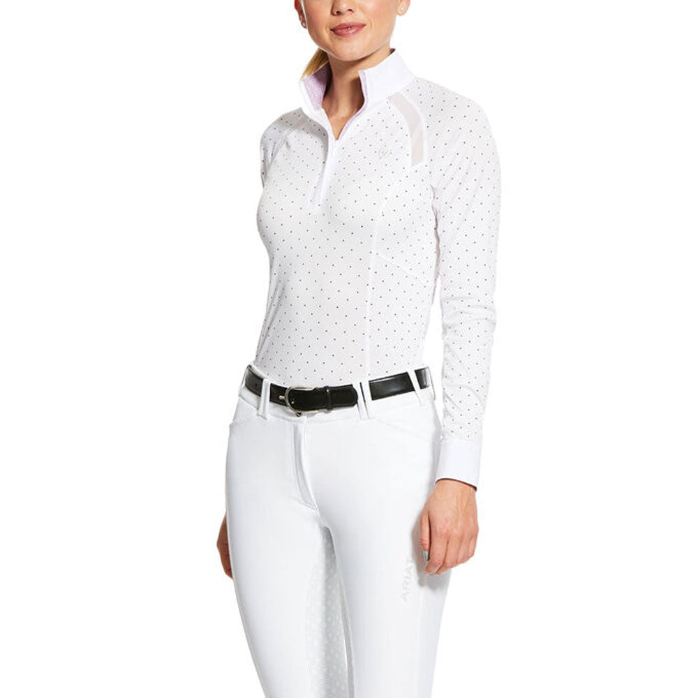 10030548 Ariat Women's Sunstopper Pro 2.0 Show Shirt White with Plum Grey Dots